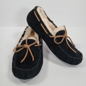 UGG Women's Dakota Moccasin Black Suede Slipper
